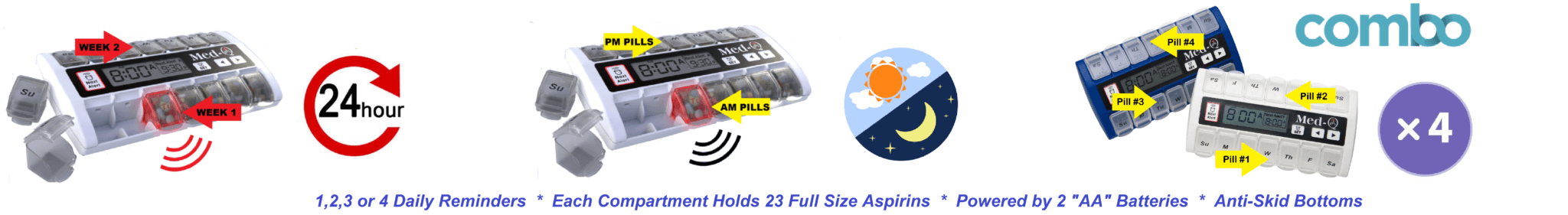 7 Day Pill Box with alarms