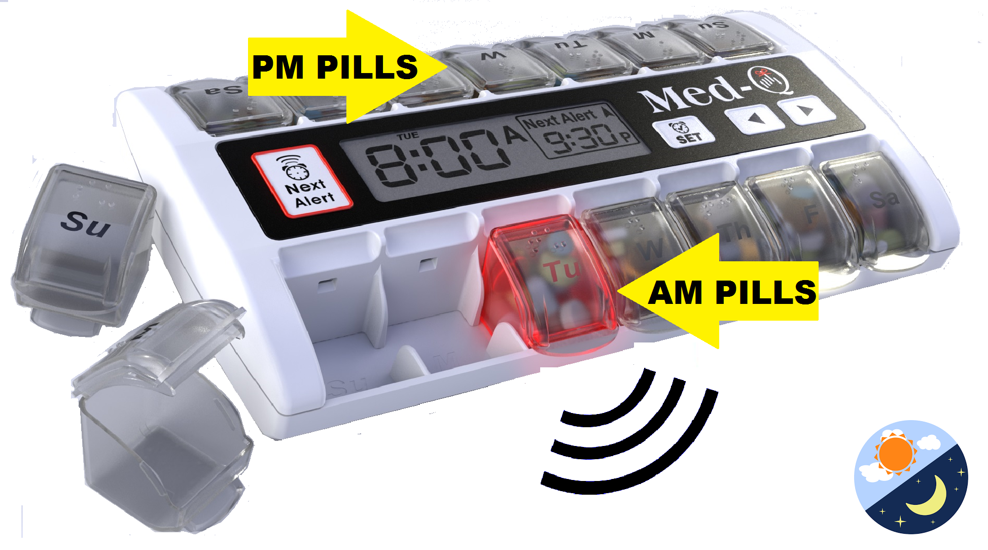 electronic pill box with timer & alarm