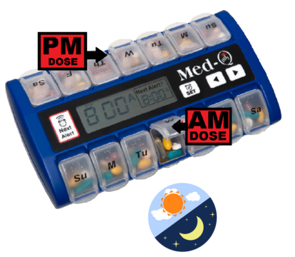 pill box with alarms