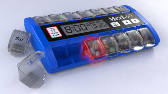 pill dispenser with alarms
