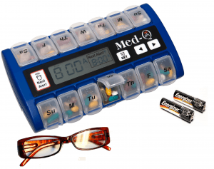 Med-q smart pill box with alarm and lock