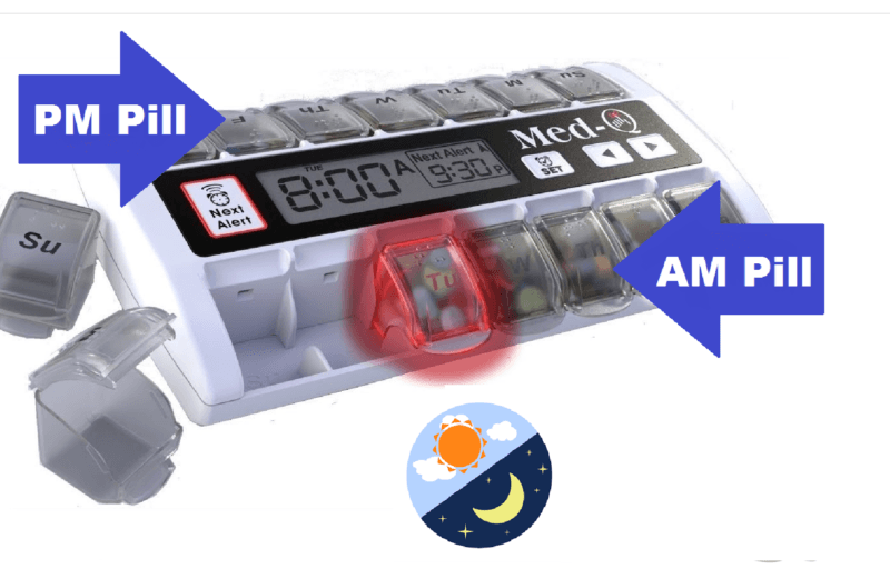 MED-Q 7 day pill Reminder with removable daily pill boxes