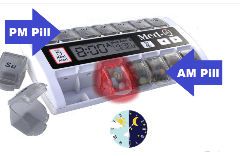 MED-Q 7 day pill organizer with removable daily pill boxes