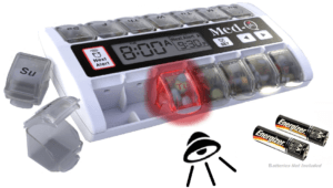 automatic pill dispenser with alarms and timer