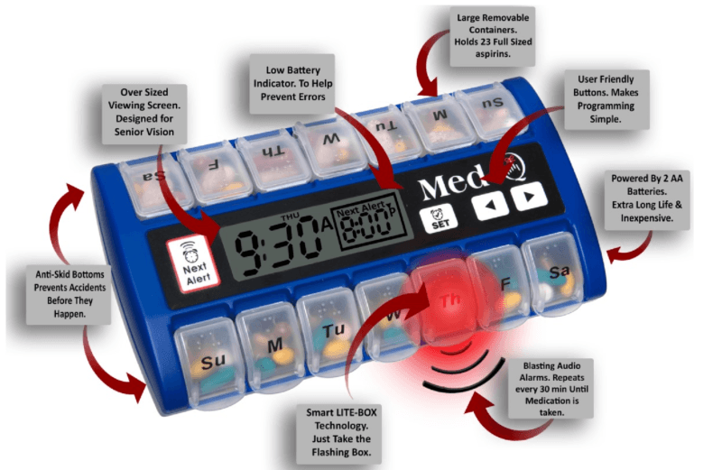 MED-Q Programmable PillBox Alarms Saves Lives